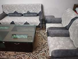 7+2 Sofa set with glass Table