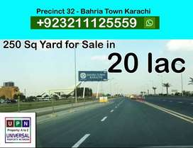 250 sq yard Residential Plot for Sale in Precinct 32, Bahria Town
