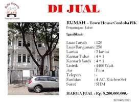 Dijual rumah 3 Lantai di Town House Cordoba PIK Jakarta Utara