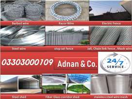 Jali,  barbed wire, razor wire, steel wire, electric fence