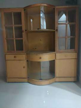 Wooden bookshelf with TV cabinet
