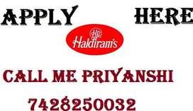 HALDIRAM Hiring for staff full time job store keeper helper supervisor