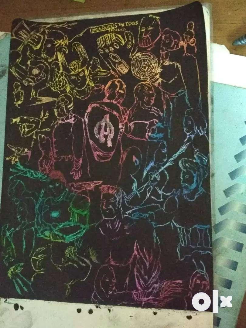 Black oil pastel art 0