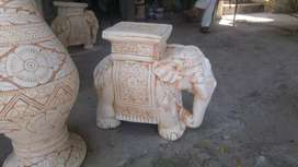 White Clay elephant as table or for home decor home delivery possible