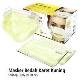 Masker Earloop 3 Ply MEDIS warna TERBARU - Yellow