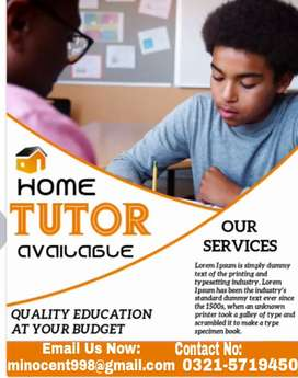 We are providing Home Tutour's In all area's of Lahore.