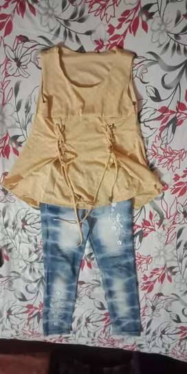 Desi peach top and blue jeans for girls