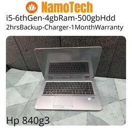 NamoTech-hp 840g3 intel i5/6thgen/4gbram/500gbhdd/chrgr/adptr