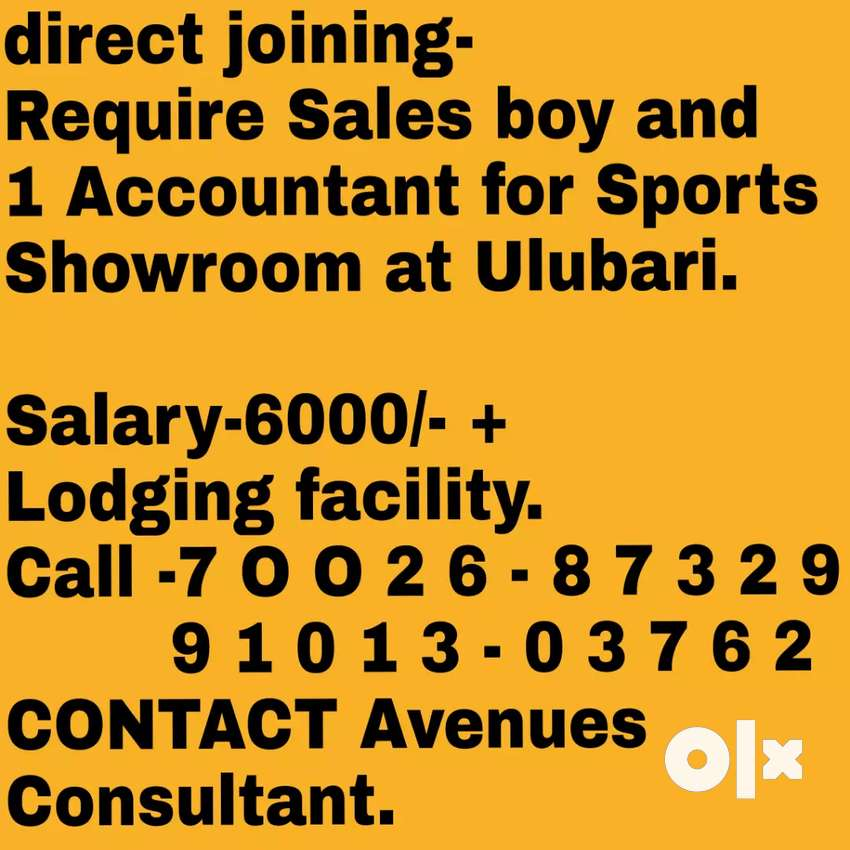 Urgently Require 2 Sales boy, 1 Accountant for Sports Showroom 0