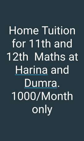 Home Tuition for class 11th n 12th Maths (only INR 1000/Month)