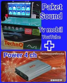 Paket sound power 4 ch + tv 7 in YouTube mp4 usb for Velg mobil