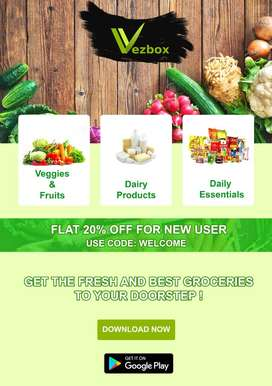 Fresh Vegetables, Fruits and Dairy products at your door step.