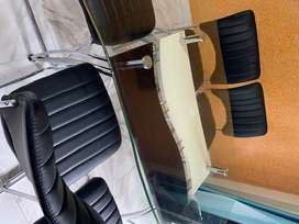 Dining table with Chairs (6-seaters) , Glass top, in good condition fo