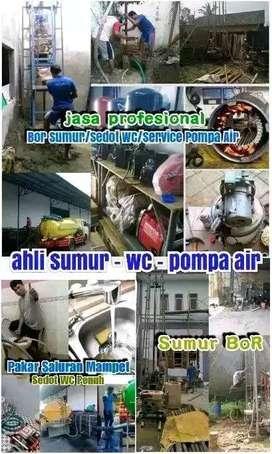 servis service pompa air sumur bor gali saluran buntu suntik sedot wc