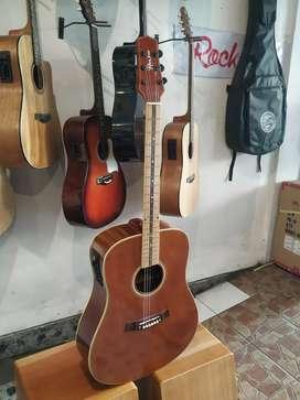 Gitar Akustik eleltrik jumbo fretboard maple