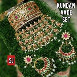 Royal high quality kundan aad set with full back meenakari
