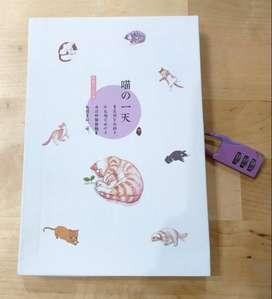 Buku Tulis Diary Gembok Angka Serbaguna Karakter Kucing Kode 3 A5