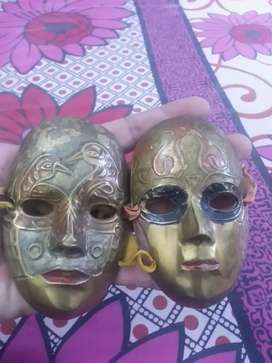 (Antique)( home)(docoration)(brass pair@Mask vintage)(classic)