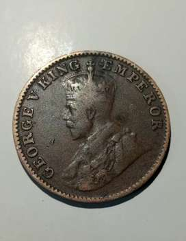 one quarter anna 1928. George v king Emperor coin.
