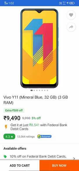 Vivo y11 3/32gb in 7000 baaki thoda kam ho jayega in warranty of 6mont