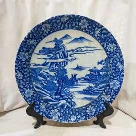 piring keramik antik jepang sablon biru putih