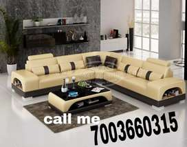 Brown leatherit L shape sofa sets with customized