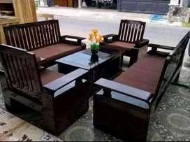 kursi meja tamu satu set baru jati