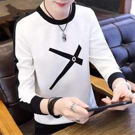 Men's Cotton Round Neck Long Sleeve Trendy Slim T-shirt