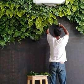 Vertical garden daun sintetis