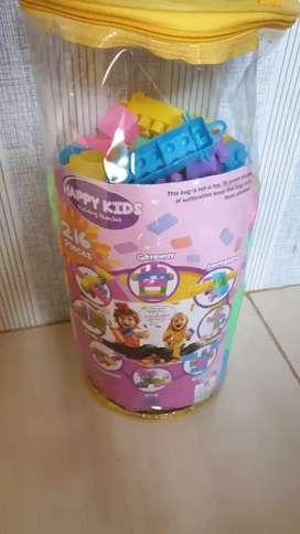 JUDUL : Happy Kids Block Mainan edukasi anak susun balok tas besar 216