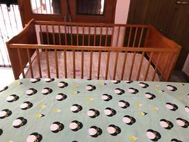 Mom & Me Baby Wooden Cot Cum Bed with Matress
