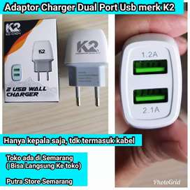Adaptor Charger K2 dual Port Kepala Cas 2 Usb Port Kepala Charger 2