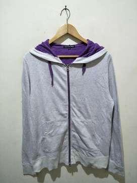 Jaket zipper hoodie abu2 ungu polos cowo