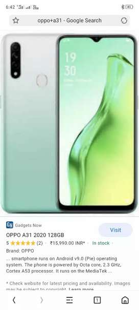 Oppo a31 fully new condition 6gb ram and 128gb rom