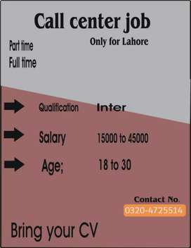 Call centre job for males and females