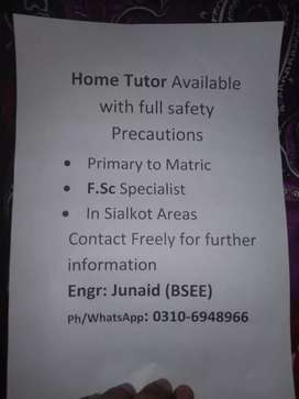 Home tutor available with full safety precautions