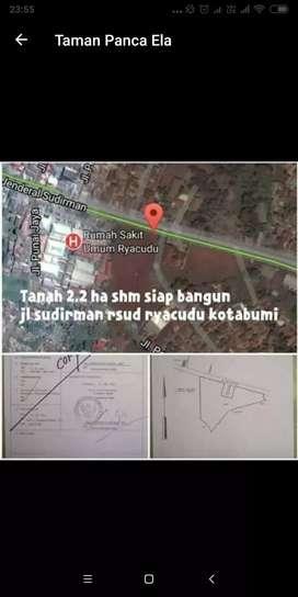 Jual tnah 2,2 Ha SHM, Dekat RSUD Ryacudu Kotabumi, Lampung Utara, nego