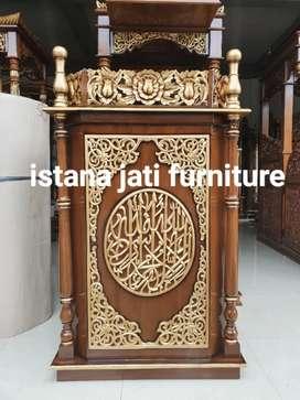Mimbar masjid podium material kayu jati grate A