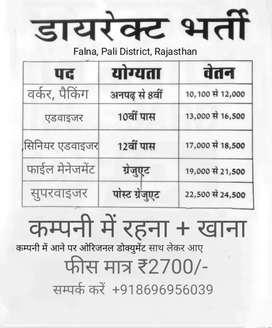 Urgent vacancy in garments