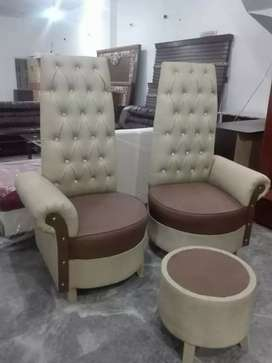 Round high back chairs with coffee table