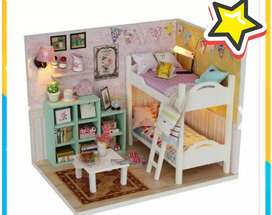 Miniatur rumah boneka DIY Doll Hpuse Wooden