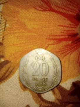 20 paise indian coin of 1988