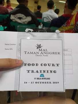 Dibutuhkan karyawan untuk jaga foodcourt di mall taman anggek