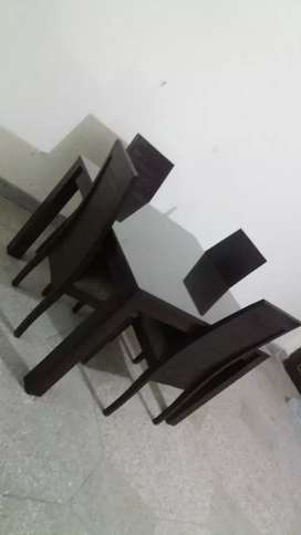 Solid Dinning table with glass top and 4 chairs