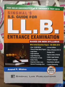 SS Guide LLB Entrance Examination by S.S.Singhal. For DU Law Entrance.