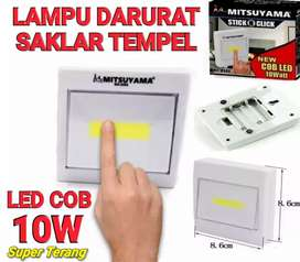 Lampu Darurat Tempel Saklar LED COB 10W Super Terang Anti Air Hujan