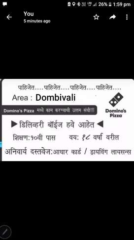 Urgent Hiring For Delivery Boy ONLY In Dombivali