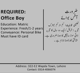Office Boy Urgently Required