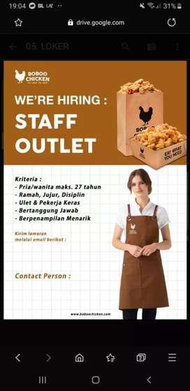 Di butuhkan staff outlet untuk area demangan jogja.