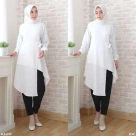 Baju Blouse Tunic White Knot MA1019